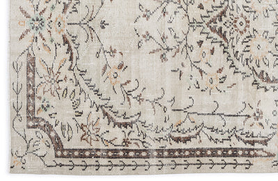 Beige Over Dyed Vintage Rug 5'3'' x 9'0'' ft 159 x 275 cm