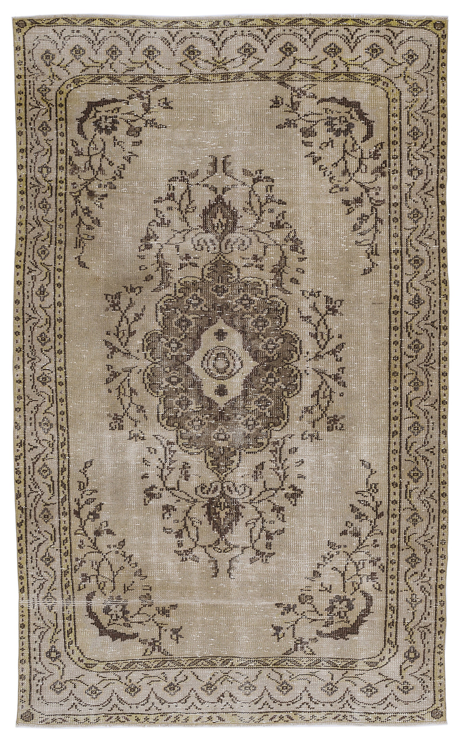 Brown Over Dyed Vintage Rug 5'5'' x 8'12'' ft 165 x 274 cm