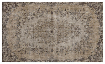 Brown Over Dyed Vintage Rug 5'5'' x 9'3'' ft 166 x 281 cm