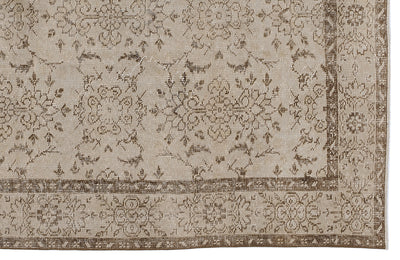 Beige Over Dyed Vintage Rug 5'3'' x 8'12'' ft 160 x 274 cm