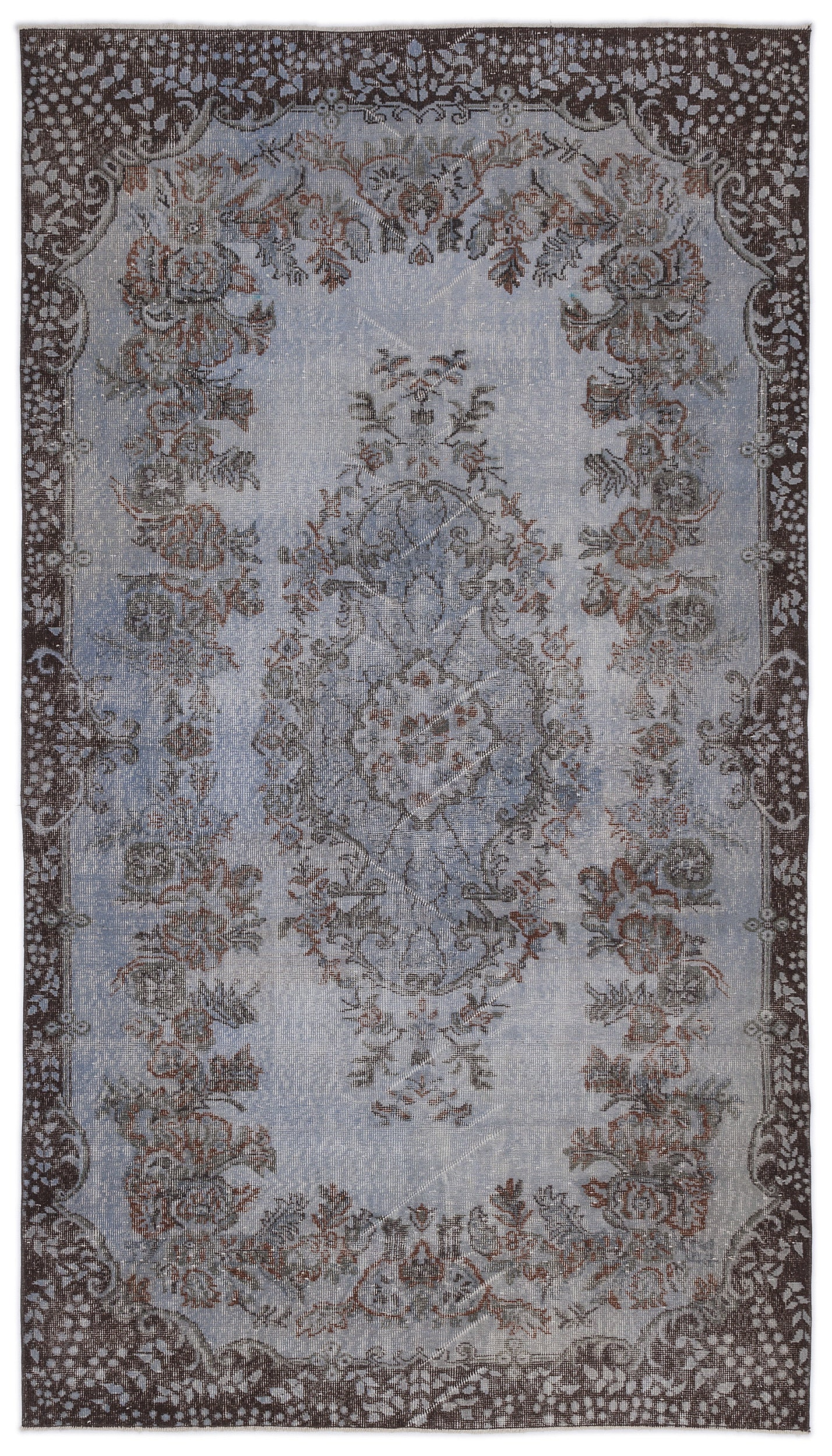 Blue Over Dyed Vintage Rug 5'7'' x 9'12'' ft 170 x 304 cm