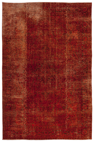 Red Over Dyed Vintage Rug 6'10'' x 10'2'' ft 208 x 310 cm