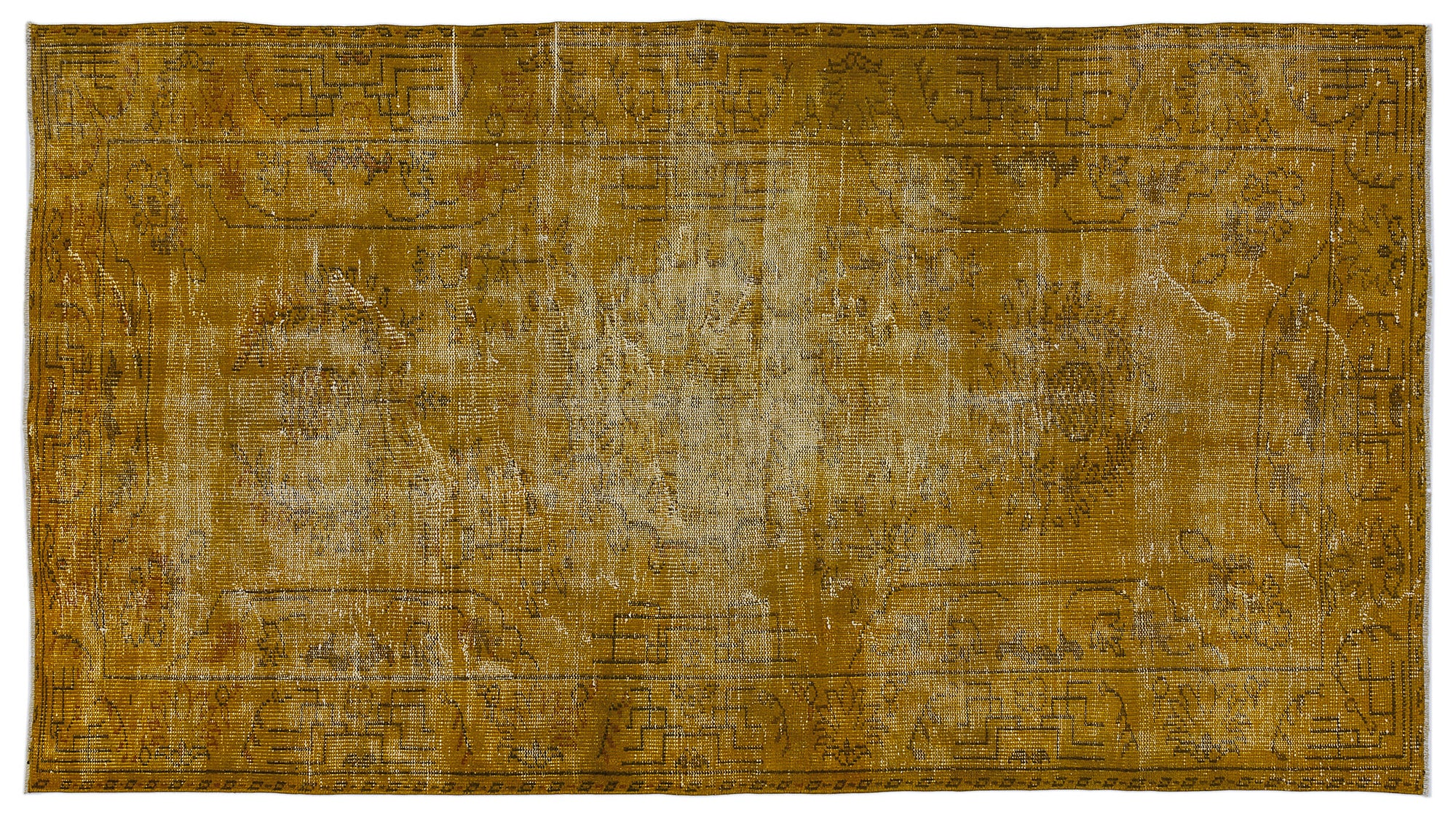 Yellow Over Dyed Vintage Rug 8'5'' x 4'8'' ft 257 x 142 cm