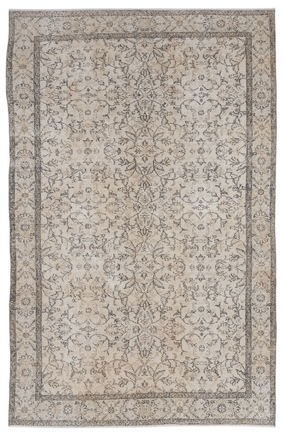 Beige Over Dyed Vintage Rug 5'10'' x 9'4'' ft 177 x 285 cm