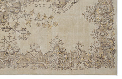 Beige Over Dyed Vintage Rug 6'2'' x 10'2'' ft 187 x 311 cm