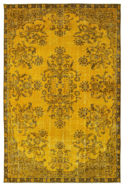 Yellow Over Dyed Vintage Rug 6'10'' x 10'3'' ft 208 x 313 cm