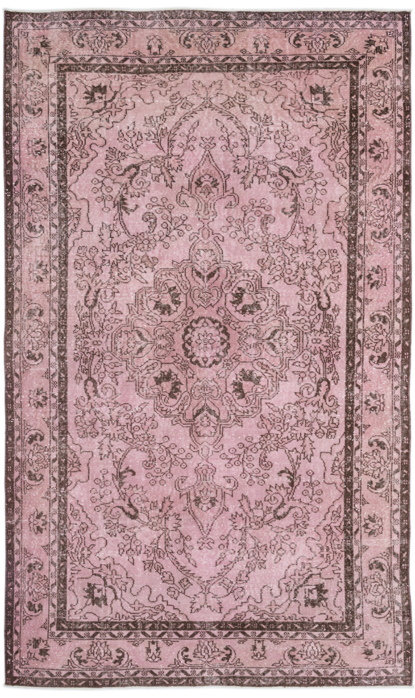 Traditional Design Pink Over Dyed Vintage Rug 5'11'' x 9'10'' ft 180 x 300 cm