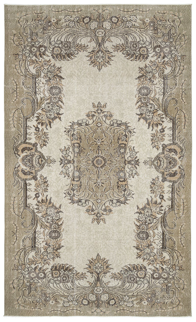 Beige Over Dyed Vintage Rug 6'1'' x 10'1'' ft 185 x 307 cm