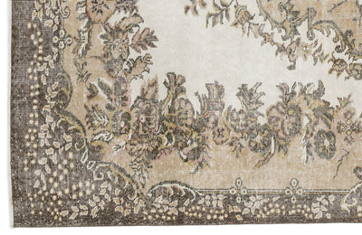 Beige Over Dyed Vintage Rug 5'10'' x 9'7'' ft 178 x 291 cm