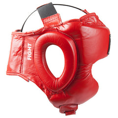 Leather Boxing Headguard - Red