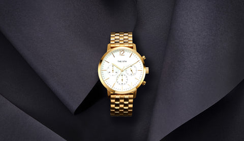 The M watch female gold links