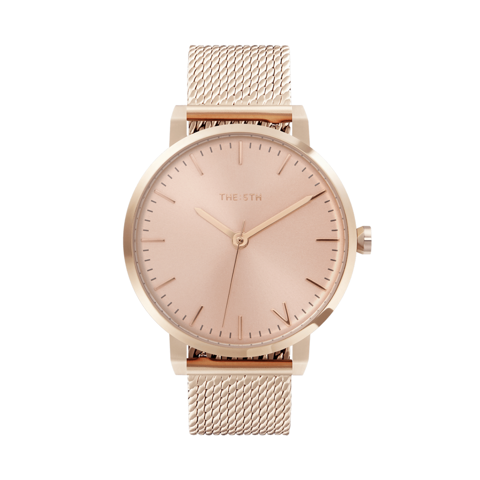 rose gold watch with interchangeable strap