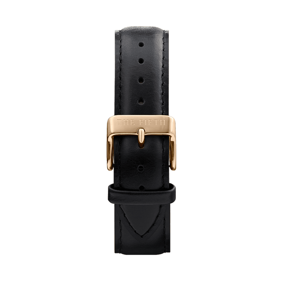 black leather luxurious watch strap with rose gold buckle