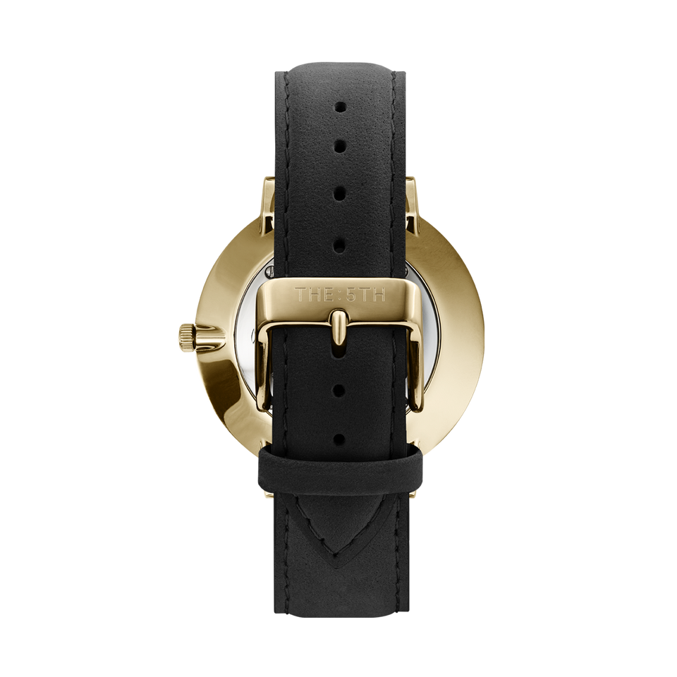 rose gold watch with black genuine leather watch strap