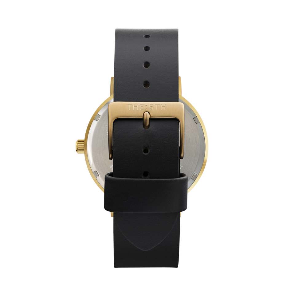 the5th gold watch with black dial and interchangeable watch strap
