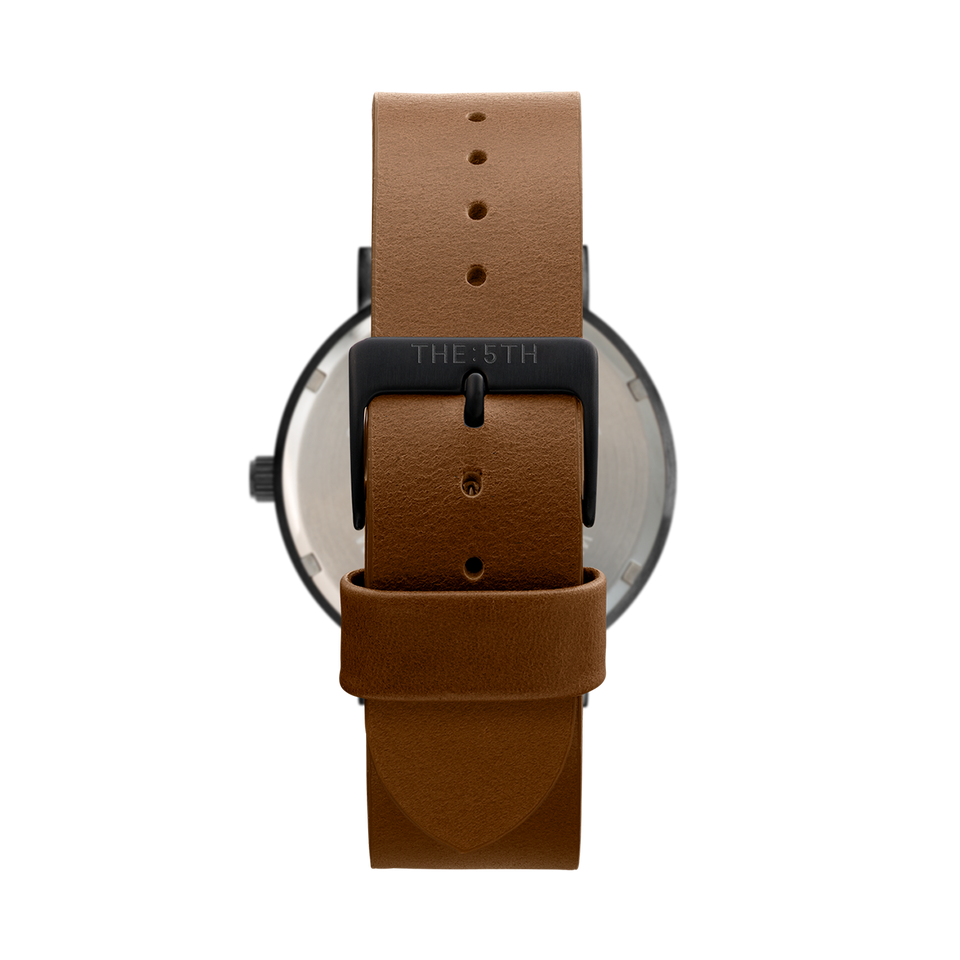 all black watch with tan leather watch strap