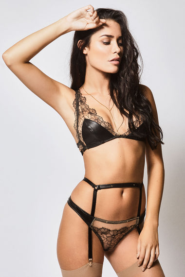 Edge o' Beyond Leather Maria Bra + Brief