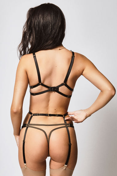Edge o' Beyond Leather Maria Bra + Thong + Suspender