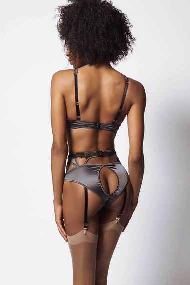 The Edge o' Beyond Miline suspender belt is structured in silky satin and black French Leavers lace. Suspenders finish any lingerie set perfectly. Back view of brief and bra underwear