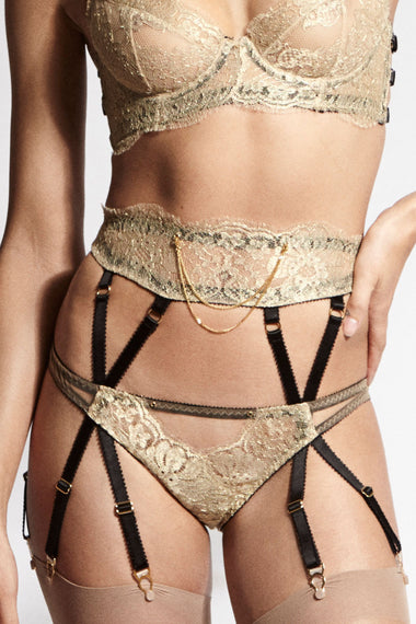 Edge o' Beyond double 18 carat gold chains designed to attach to your EOB suspenders, brief or thong. The perfect women's underwear addition. Worn on Ahlan suspender lingerie range