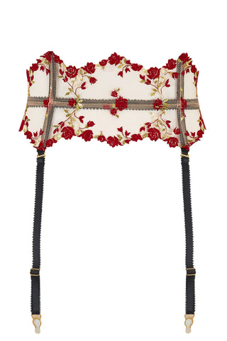 Charlotte Red Rose Floral Embroidery Waspie Suspender with adjustable detachable straps