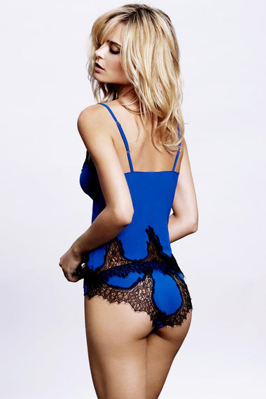 Edge o' Beyond Luxury Lingerie Alexina brief. Electric blue Italian fabric & Black French Leavers lace combine to make this unique women's underwear set. Shown with nightwear camisole, back view