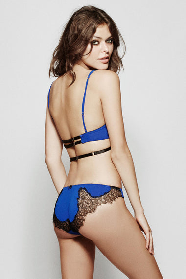 Edge o' Beyond Luxury Lingerie Alexina brief. Electric blue Italian fabric & Black French Leavers lace combine to make this unique women's underwear set. Shown with bra as back view
