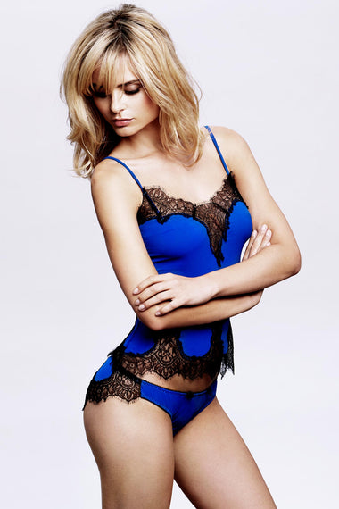 Edge o' Beyond Luxury Lingerie Alexina brief. Electric blue Italian fabric & Black French Leavers lace combine to make this unique women's underwear set. Shown with nightwear camisole
