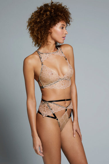 Edge o' Beyond Colette bra and matching thong set. new and unique women's lingerie range, combining gilt threaded French embroidery, delicate copper scallops, diamond cut-outs and signature bondage-inspired strapping