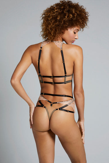 Edge o' Beyond Colette back view of bra and g string thong. new and unique women's lingerie range, combining gilt threaded French embroidery, delicate copper scallops, diamond cut-outs and signature bondage-inspired strapping