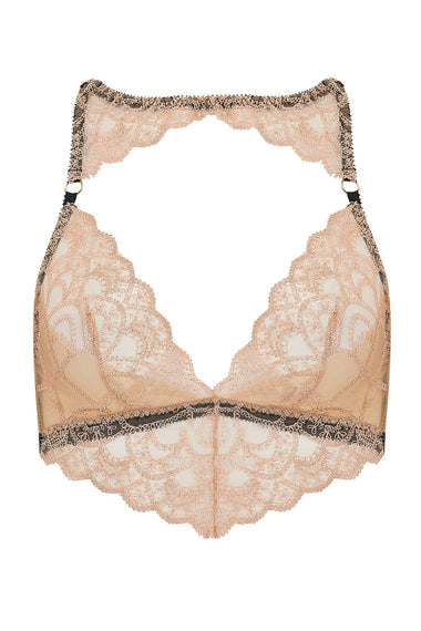 Edge o' Beyond Colette bra. The new and unique women's lingerie range, combining gilt threaded French embroidery, delicate copper scallops, diamond cut-outs and signature bondage-inspired strapping