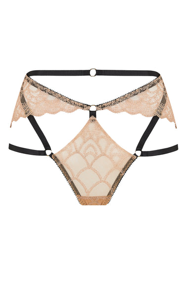 Edge o' Beyond thong A new and unique shape crafted in the UK with gilt threaded French embroidery, delicate rose gold scallops, bondage-inspired strapping and finished with 24 carat gold plated hardware. Colette range is a lingerie lovers must have.