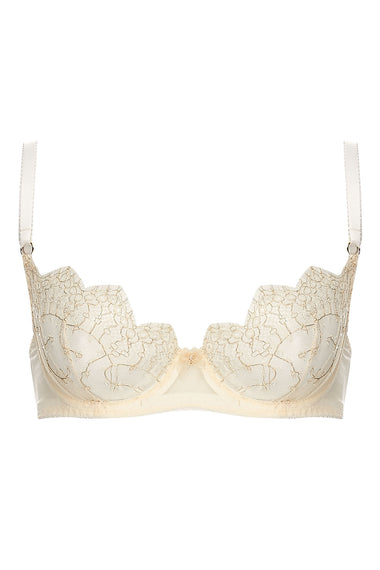 Edge o' Beyond Evie push up bra created from ivory sheer tulle and intricate gold gilted lace. Good women's underwear option for plus size lingerie lovers.