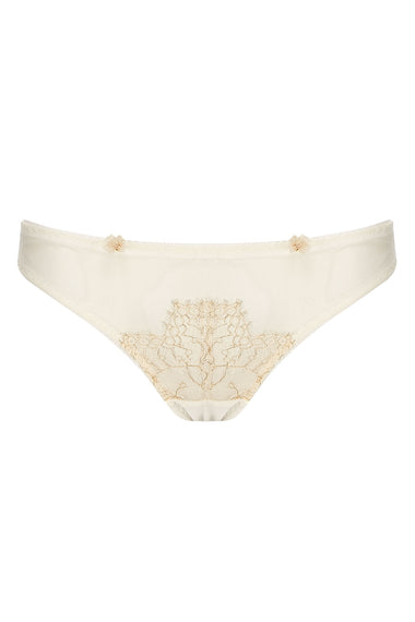 Edge o' Beyond Evie lingerie brief created from ivory sheer tulle and intricate gold gilted lace. A playful rear peep makes this unique women's underwear. Pair with a babydoll or negligee for perfect bridal look.