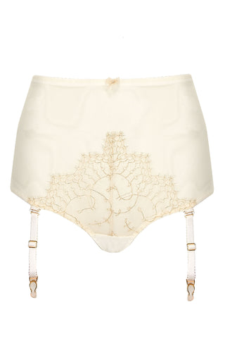 Edge o' Beyond Evie Buttercream 24K gold gilt threaded peek-a-boo high waist brief with ivory French Chantilly lace appliqué. Features an open back with hook and eye to nip in your waist as basque alternative. Comes with detachable suspenders alternative to garter belt.