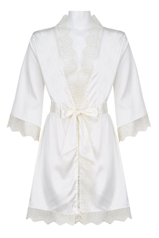 Edge o' Beyond luxury ivory silk and lace robe for a bride to be. Gold embellished, gilt threaded detail and eyelash lace + matching eye mask or wrist ties make the kimono perfect for wedding night, honeymoon, bridal party. Match with Evie lingerie set in buttercream.