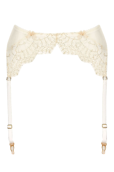 Edge o' Beyond Evie Buttercream suspender belt with gold gilt thread and ivory French Chantilly lace appliqué. Perfect luxury underwear for brides and wedding parties.