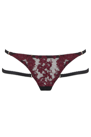 Fabienne thong features corded French Lace in rich mulberry. Finished with detachable bondage-inspired silky straps. The adjustable sides mean this is the ultimate plus size lingerie or perfect if lingerie shopping for someone else