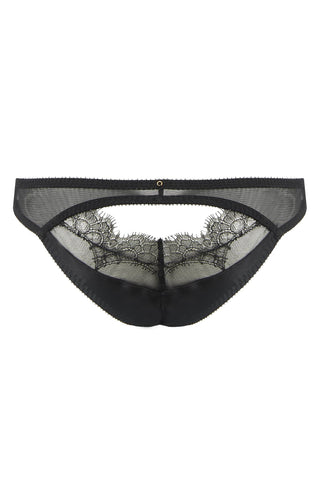 Edge o' Beyond combine black, pure silk and Chantilly Leavers lace to create Karis brief with peek a boo cut out back, the ultimate women's underwear.  Back View.