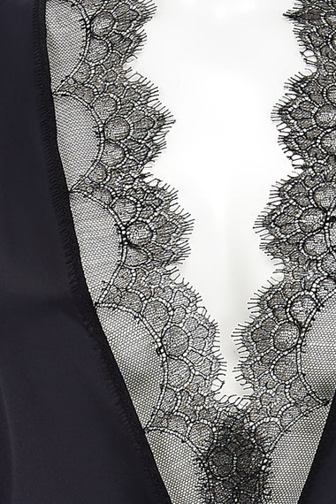 Close up of Edge o' Beyond combine black, pure silk and Chantilly Leavers lace to create Karis kimono, a nightwear or loungewear piece which matches the lingerie brand's underwear range.