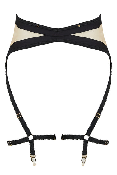Edge o' Beyond Madeleine suspender is made from black silk and 18 carat gold dipped rings. This women's lingerie garter belt is almost corset like as it draws in the waist.
