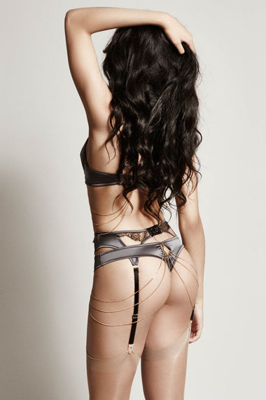The Edge o' Beyond Miline suspender belt is structured in silky satin and black French Leavers lace. Suspenders finish any lingerie set perfectly. Back view of full underwear set including 18k gold jewellery