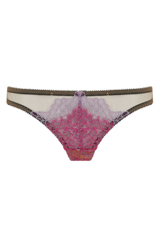 The Edge o' Beyond Tamia thong created with French pink lace and French lilac metallic embroidery, unique colours in lingerie. Women's Underwear doesn't get better.