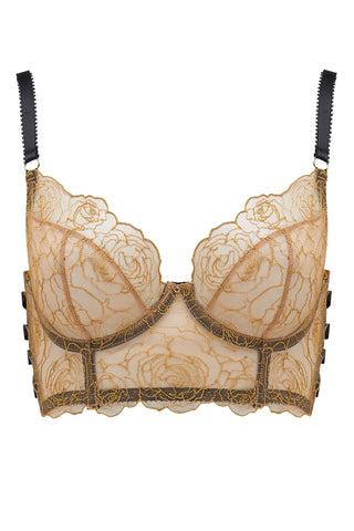 Edge o' Beyond Valma bra is made with delicate gold thread and rose floral design. The longline style of underwear is as flattering as a corset.