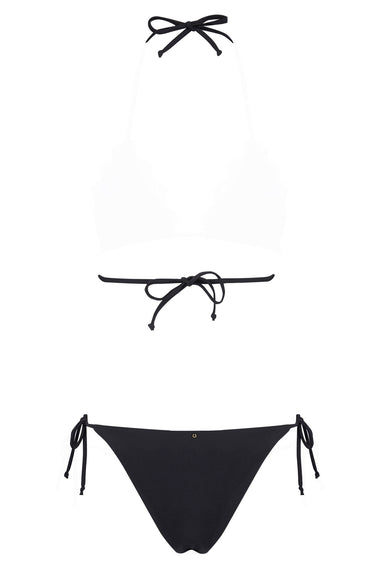 Black lace tie side bikini briefs. Nadine is the debut swimwear collection from luxury lingerie brand Edge o' Beyond. Back view including bikini top ties
