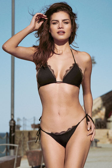 Black lace tie side bikini briefs. Nadine is the debut swimwear collection from luxury lingerie brand Edge o' Beyond. On fuller bust plus size lingerie model