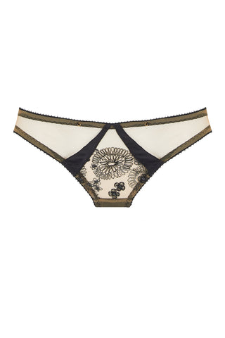 Yelena is a Brazilian brief shape with metallic embroidery, silk, and a peek-a-boo panel. New for Edge o' Beyond Lingerie.
