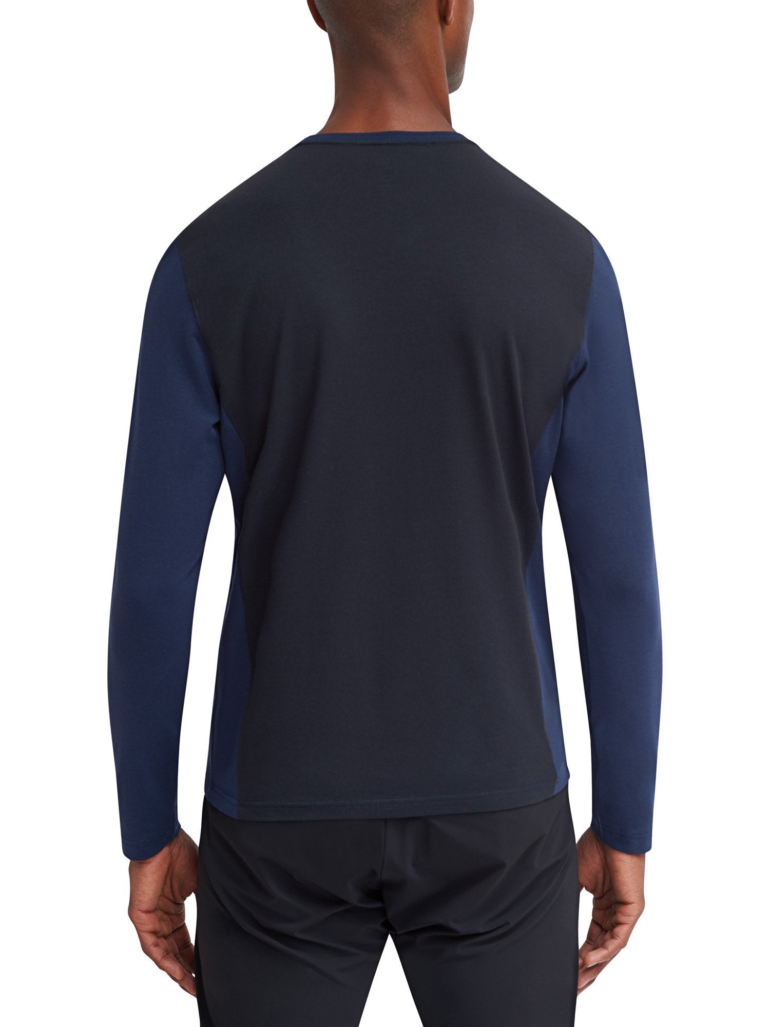 Trekker L/S V-Neck Color Block T-Shirt - Navy - EFM Menswear Engineered For Motion