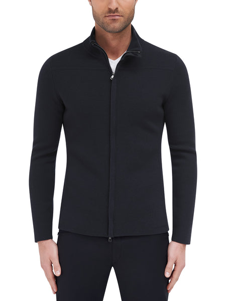 Cavalier Zip Front Sweater - Black