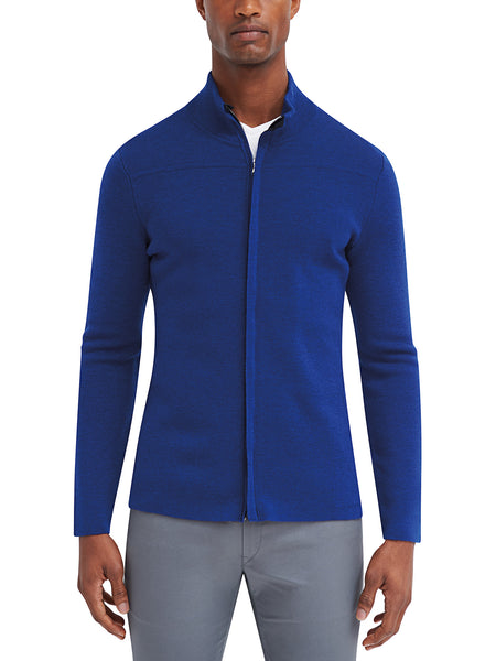 Cavalier Zip Front Sweater - Cobalt Blue